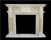 White Marble Handcarved Pillar Fireplace Mantels