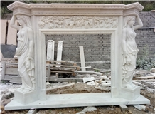 White Marble Handcarved Sculptured Fireplace
