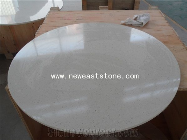 Hot Sale White Quartz Stone Round Table Tops From China