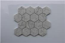 Hexagon Bianco Carrara White Marble Mosaic