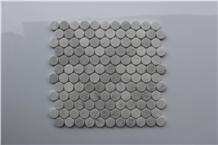 Penny Round Carrara White Polished Marble Mosaics