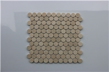 Spain Crema Marfil Penny Round Marble Mosaic