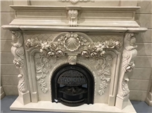 China Marble Handcarved Fireplace Mantel Surround