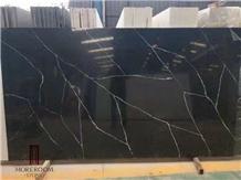 Marble Black Look Quartz Stone Slabs