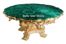 Malachite/Green Jade Semiprecious Stone Tea Tables