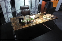 Wood Fossil Semi Precious Stone Office Tables