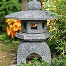 Oriental Outdoor Japanese Carved Stone Lantern
