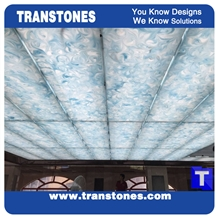 Blue Translucent Resin Faux Onyx Ceiling Panel