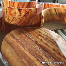 Decorative Orange Faux Onyx Marble Lighting Box