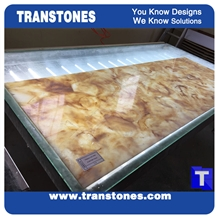 Faux Alabaster Panel Translucent Brown Onyx Stone