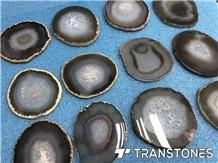 White Agate Slices Translucent Wall Panel Gemstone