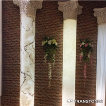 White Translucent Faux Stone Wall Column Design