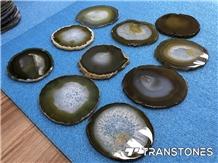 Yellow Agate Slices Translucent Semiprecious Stone