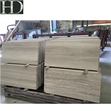 Chinese White Wood Grain Veins Marble Honed Tiles