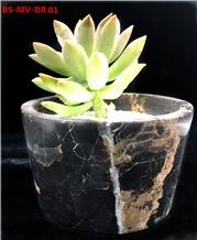 Black Marble Flower Pot