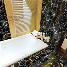 Brazil Black Agate Slabs for Bath Design, Modern Bathroom Design
