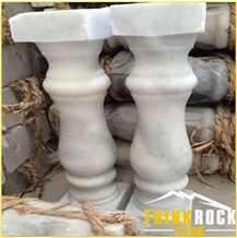 Indoor Stair Edge White Marble Carved Balustrade