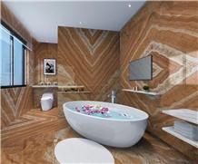 Cheap Peacock Yellow Onyx Bathroom Floor Wall Tile