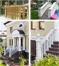 Natural Limestone Carved Staircase Rails