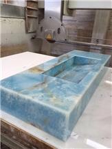 Pakistan Blue Onyx Rectangle Wash Bathroom Sinks