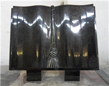 Polished Black Color Book Style Monument