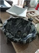 Polished Black Marble Bathroom Wash Stone Basins