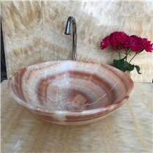 Polished Onice Red Onyx Round Bathroom Vessel Sink