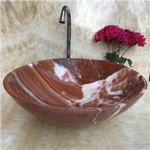 Red Onyx Round Bathroom Stone Wash Basins Bowls