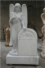 White Marble Angel Monument Funeral Sculptures