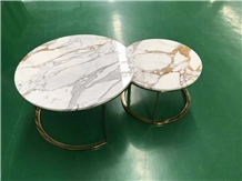Marble Furniture Calacatta Gold Coffee Round Table