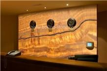 Backlit Golden Yellow Onyx Wall Decorative Slab