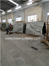 China Blue Jade River Moon White Marble Bookmatch