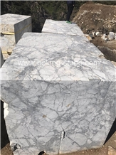 Invisible Grey Blocks White Venato Marble Block