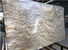 Water Cloudy Grey Marble Slab Golden Vein