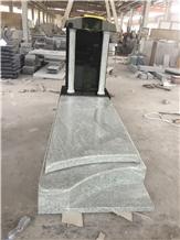 White and Black Granite Asian Style Gravestone