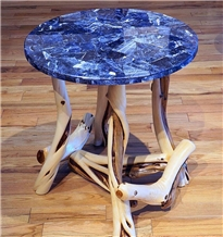 Blue Semi Precious Stones Table Top Side Table