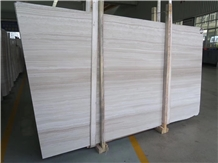 Chinese Serpeggiante White Wood Grain Marble Slabs