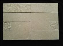 Engraved Crema Marfil Spaish Beige Marble Wall Tiles -Leafs