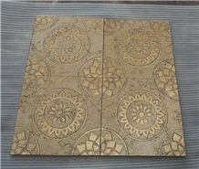 Etched & Painted Golden Marble Wall Slabs & Tiles - Golden Beige