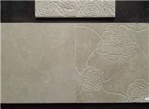 Niya Grey Limestone Polished Etching & Engraved Wall Tiles -Peony
