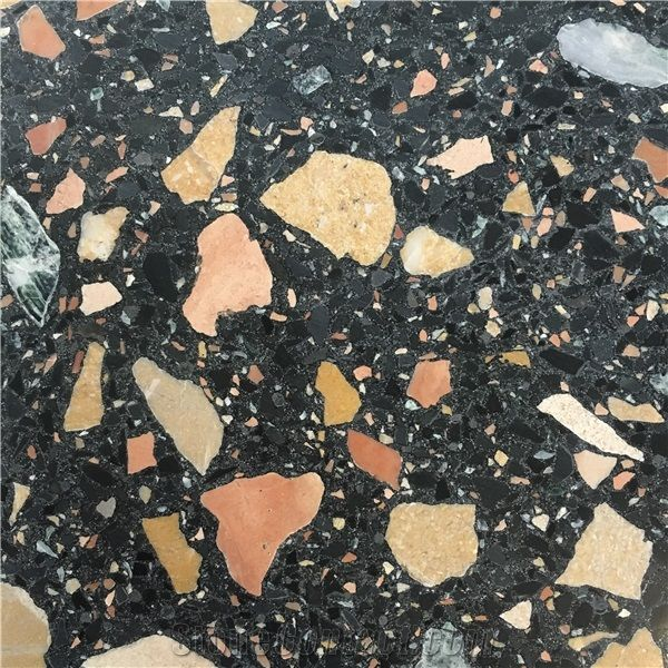 941 Black Terrazzo Agglomerate Tile From Hong Kong