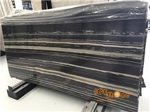 Black Marble with Wooden Natural Stone/A Grade White Straight Vein