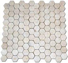 Bagus Natural Stone - White Marble Natural Stone Hexagonal 6x6cm Mosaic