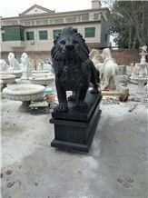 Garden Decoration Status Black Granite Hand Carved Lions Sculptures