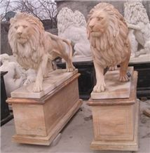 Hand Carved Lions Sculptures Outdoor Red Marble Status Decorations