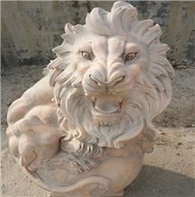 Ourdoor Decoration Status Marble Hand Carved Lions Sculptures