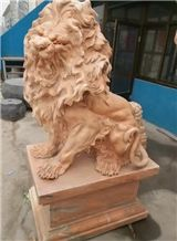 Outdoor Decoration Status Red Marble Hand Carved Lions Sculptures