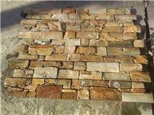Yellow Slate Cultured Stone Stacked Wall Panel Cement Backing
