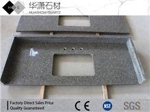 Artificial Quartz Customize Vanity Top Grey Color with Shine Veins