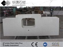 Crystal White Customize Quartz Countertop 30mm Polish Finished